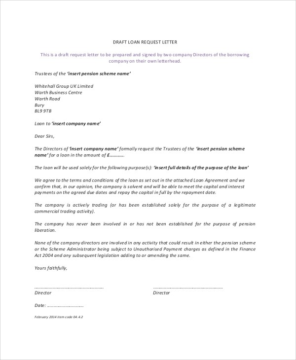 8+ Sample Loan Agreements Sample Templates - loan letter agreement