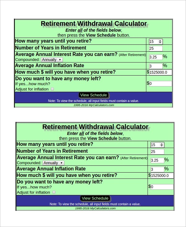 6+ Sample Retirement Withdrawal Calculators Sample Templates - retirement withdrawal calculator