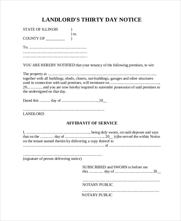 8+ 30 Day Notice to Landlord Samples - Google Docs, MS Word, Apple Pages
