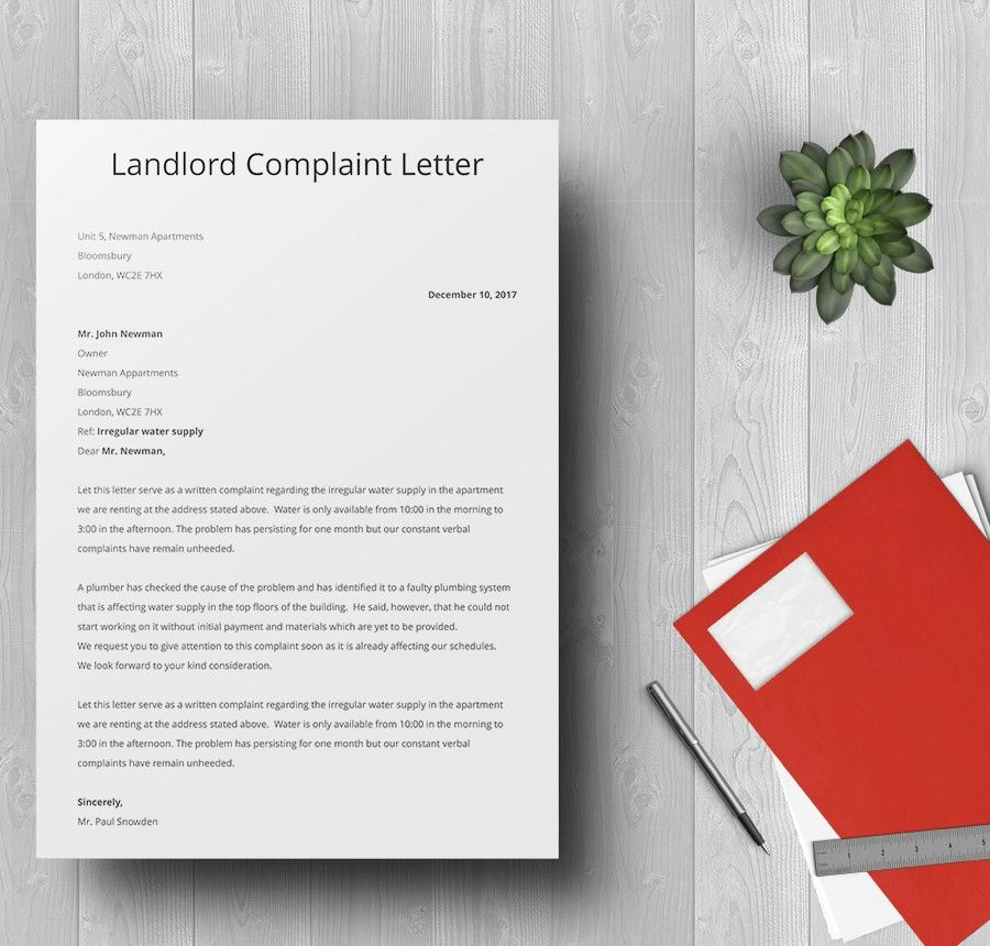 how to write a complaint letter to landlord