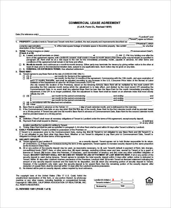 Sample Commercial Lease - 9+ Examples in Word, PDF - sample commercial lease agreement