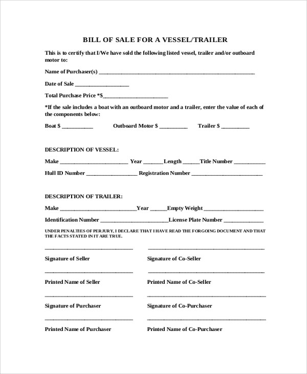 Sample Blank Bill of Sale Form - 10+ Examples in PDF, Word