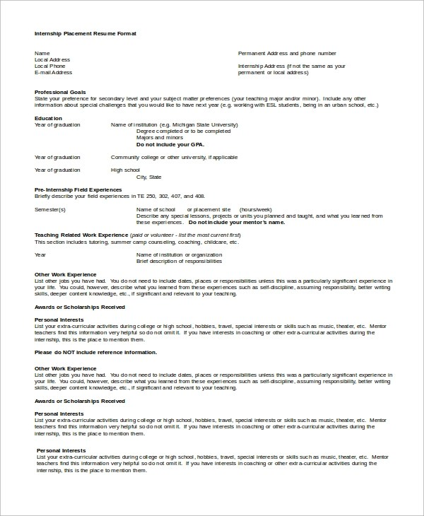 7+ Sample Internship Resumes Sample Templates