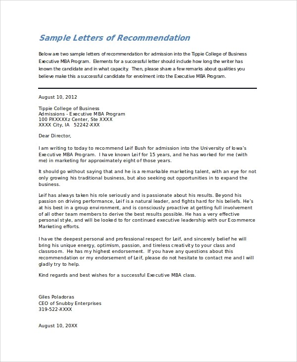 Sample College Recommendation Letter - 7+ Examples in Word, PDF - formats for letters of recommendation