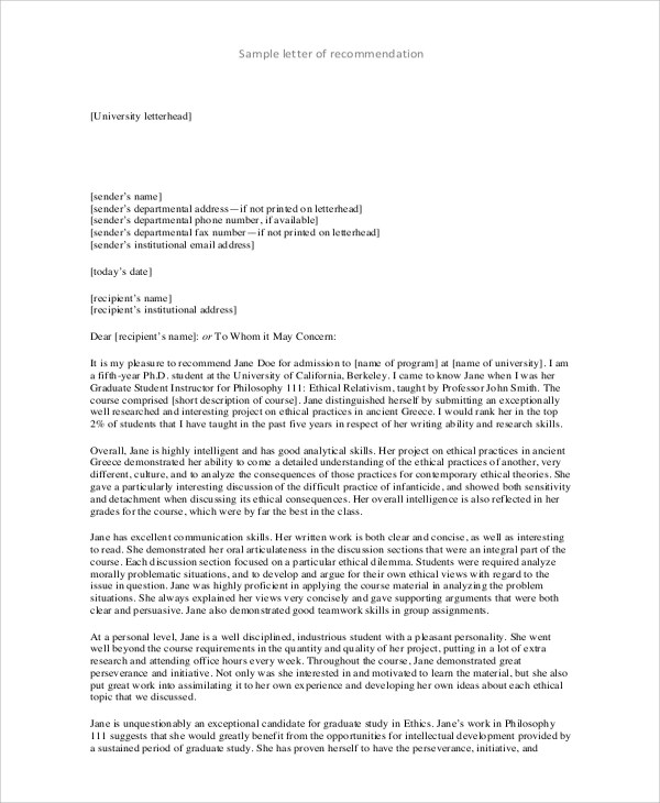 Sample College Recommendation Letter - 7+ Examples in Word, PDF
