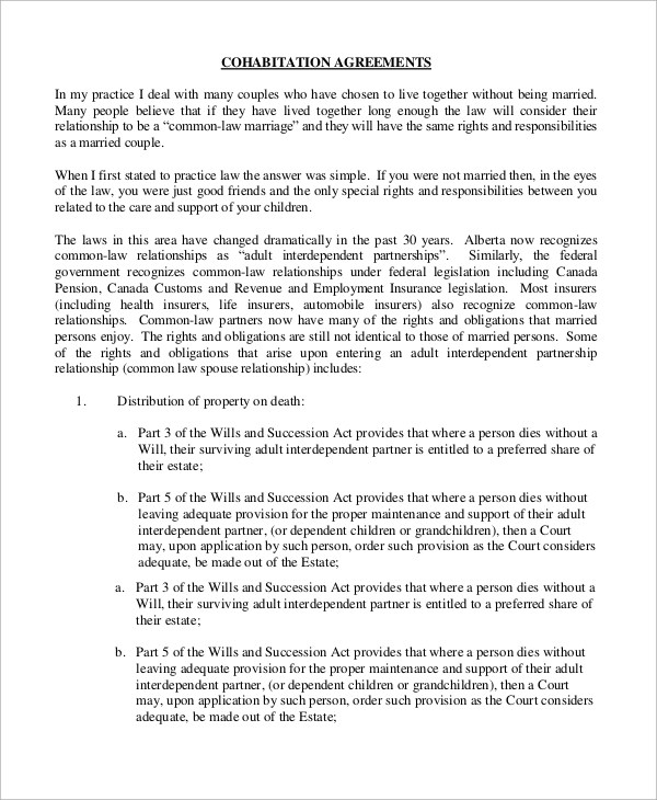 Sample Cohabitation Agreement 8 Examples In Word Pdf Sample Cohabitation  Agreement Template
