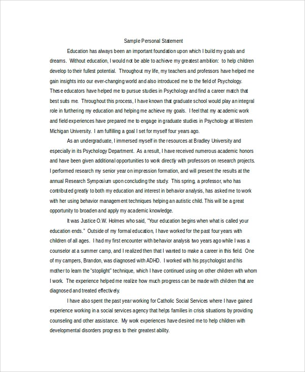 8+ Personal Statement for Graduate School Samples Sample Templates
