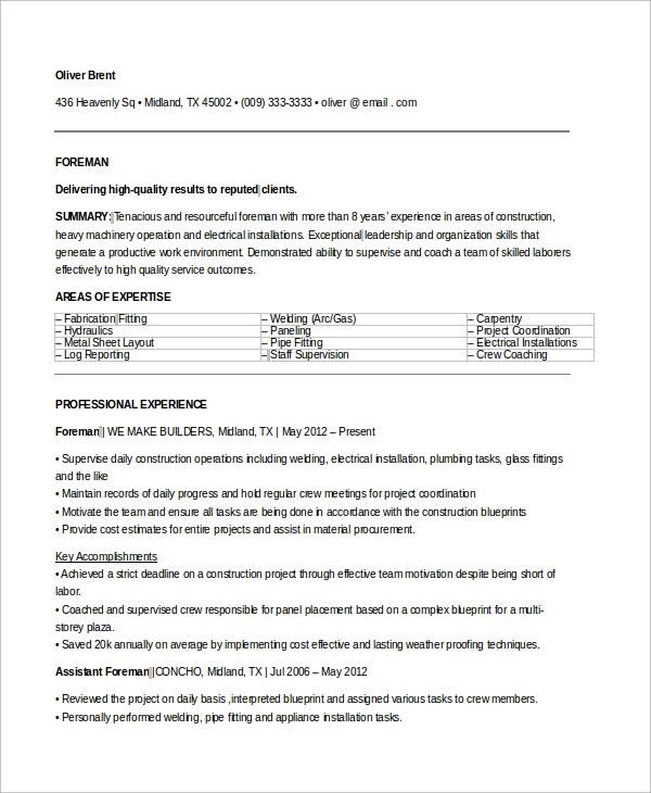 9+ Sample Electrician Resumes Sample Templates - Resume Sample For Electrician