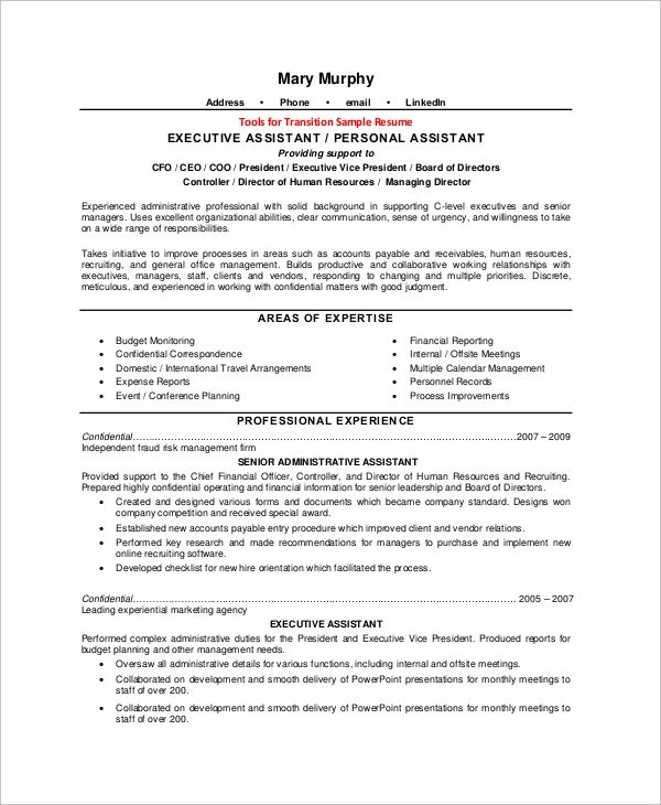 sample resume for executive assistant to ceo