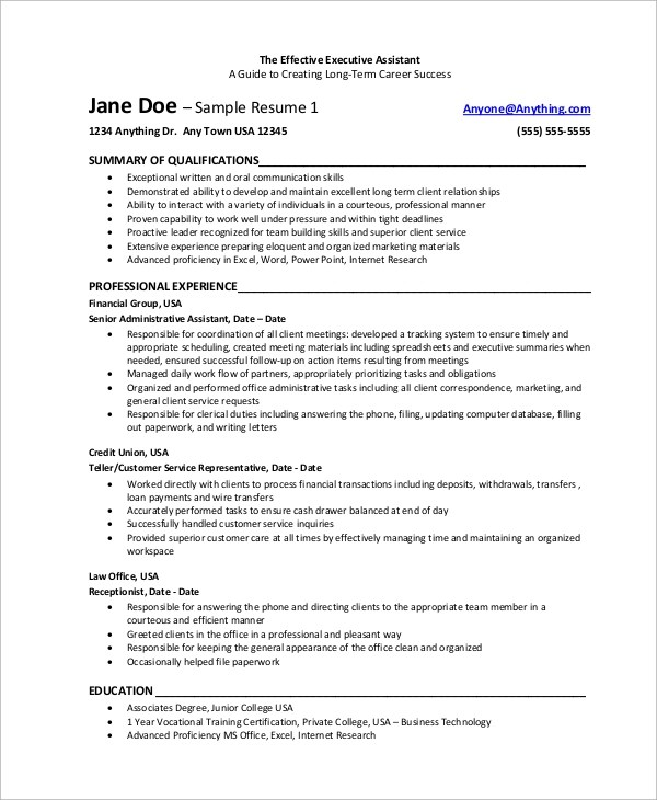 8+ Sample Executive Assistant Resumes Sample Templates
