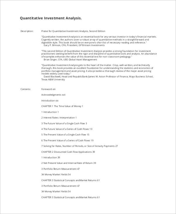 8+ Quantitative Analysis Samples Sample Templates