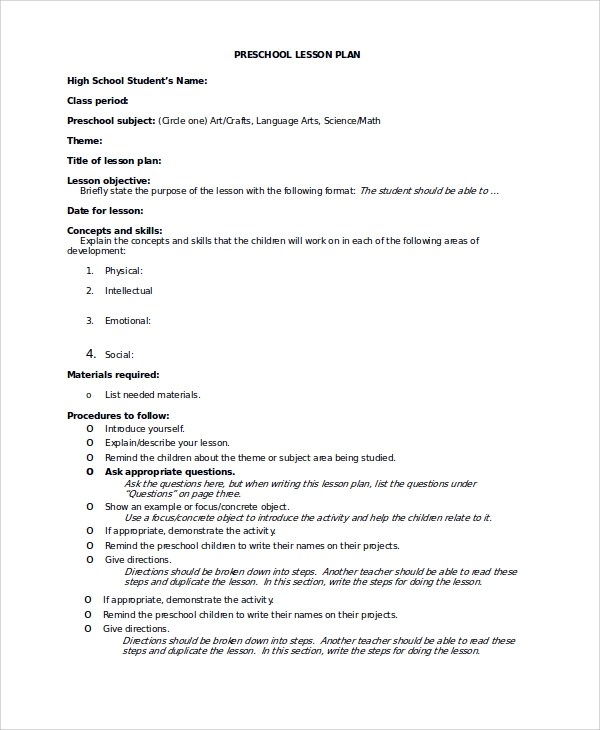 Lesson Plan Sample For Preschool - sample preschool lesson plan