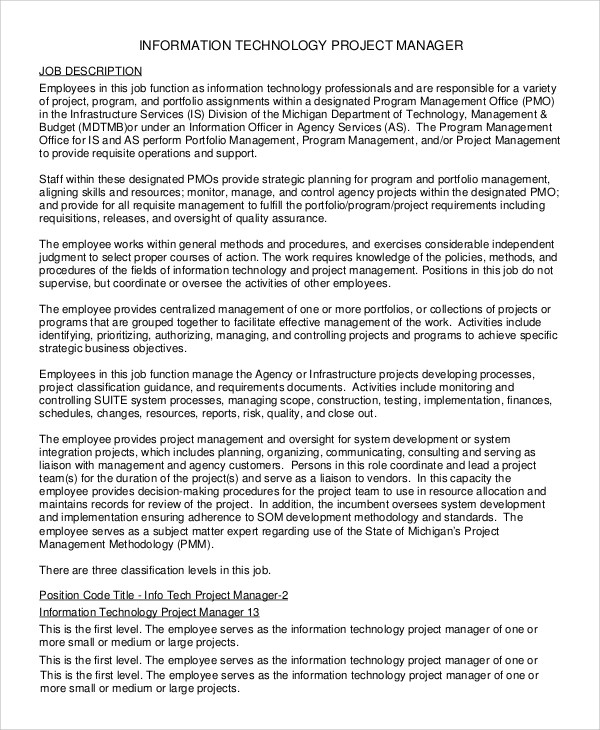 Sample IT Manager Job Description - 7+ Examples in PDF - it project manager job description