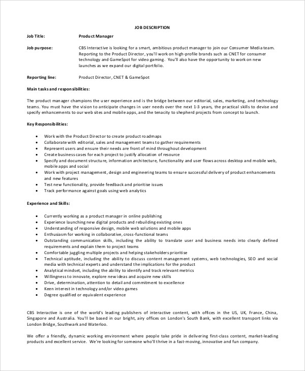 Sample IT Manager Job Description - 7+ Examples in PDF - it director job description