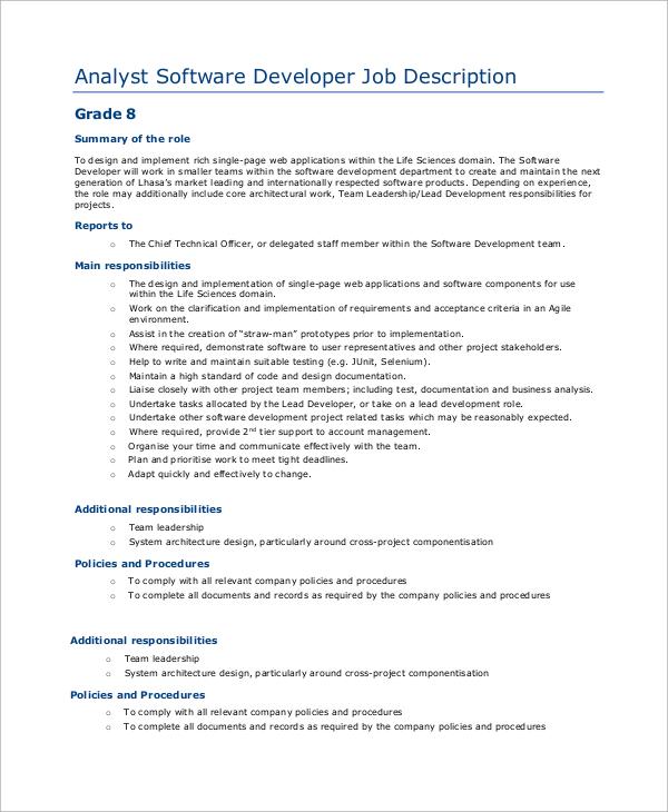 sample software developer job description 9 examples in pdf web developer job description