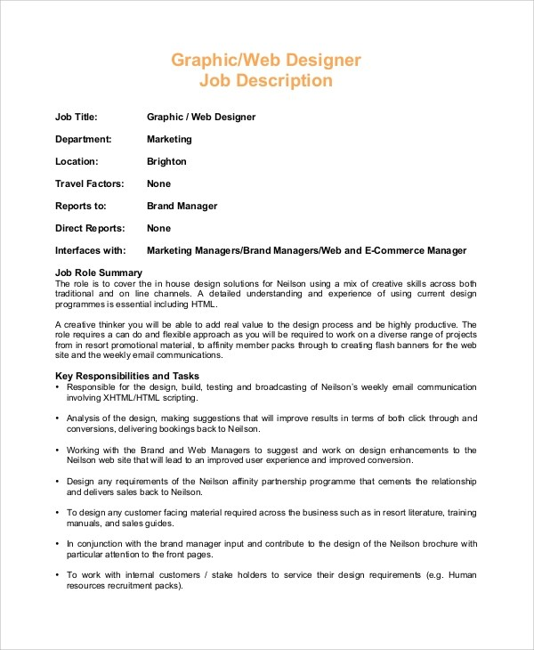 Sample Web Designer Job Description - 8+ Examples in PDF