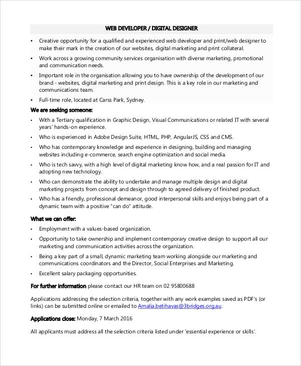 web developer designer job description - pacq.co