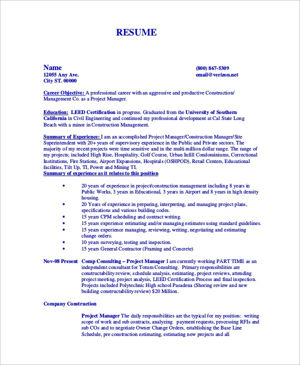 9+ Sample Construction Resumes Sample Templates
