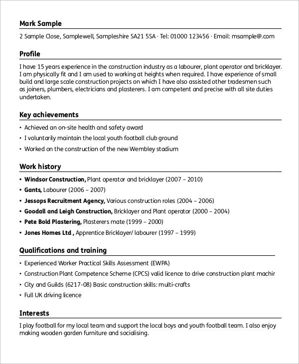 Sample Resume For General Laborer Position | Sample Letter Of