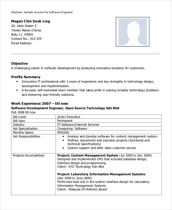 8+ Sample Software Engineer Resumes Sample Templates