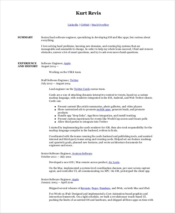 Sample Software Engineer Resume - 8+ Examples in Word, PDF - senior software engineer resume