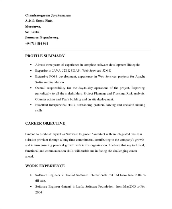 Sample Software Engineer Resume - 8+ Examples in Word, PDF - example software engineer resume