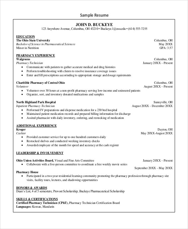 7+ Sample Pharmacy Technician Resumes Sample Templates - sample pharmacy tech resume