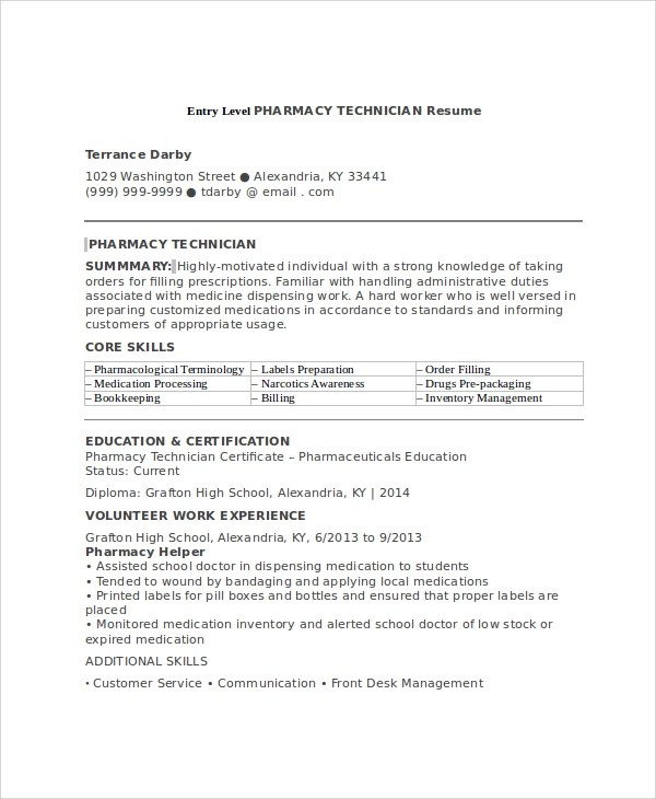 How To Make A Good Entry Level Resume  Sample Pharmacy Technician Resume 7 Examples In Word Pdf