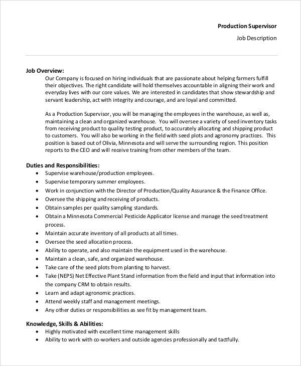 Production Job Description | Resume Cv Cover Letter