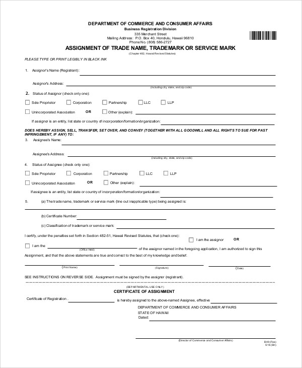 7+ Sample Trademark Assignment Forms Sample Templates