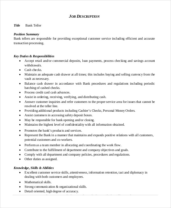8+ Bank Teller Job Description Samples Sample Templates