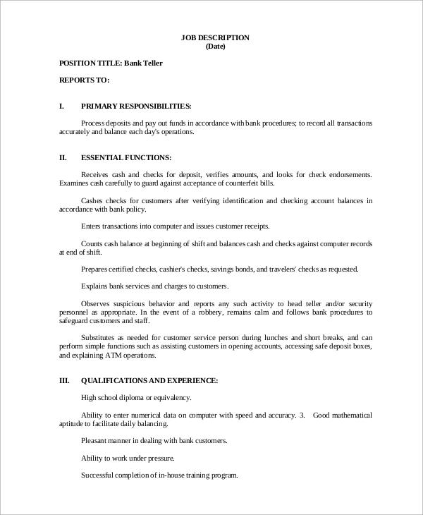Sample Bank Teller Job Description - 8+ Examples in PDF