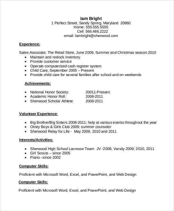 Resume Examples For First Job Sample First Job Resume Experience - student resume examples no experience