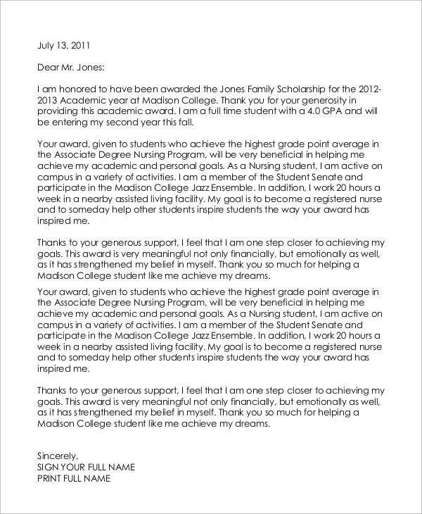 8+ Sample Scholarship Thank You Letters \u2013 PDF, DOC Sample Templates - sample award thank you letter