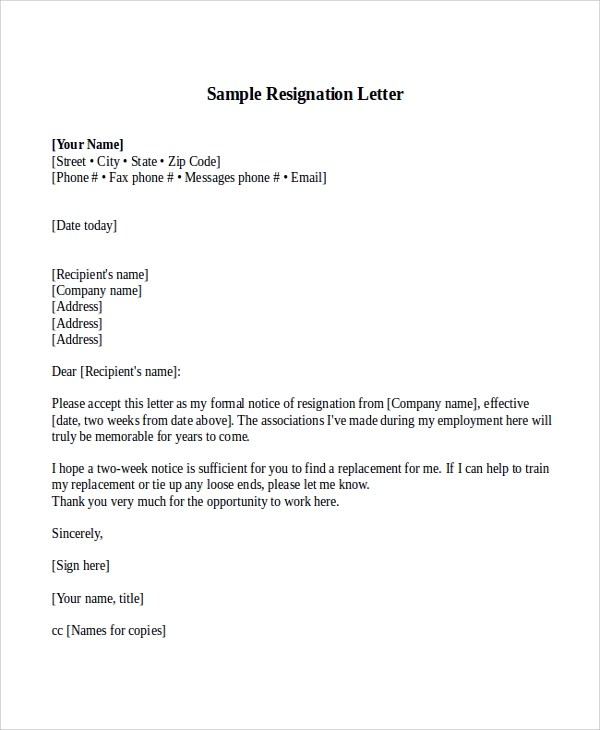 Sample Resignation Letter With 2 Week Notice - 6+ Examples in Word, PDF