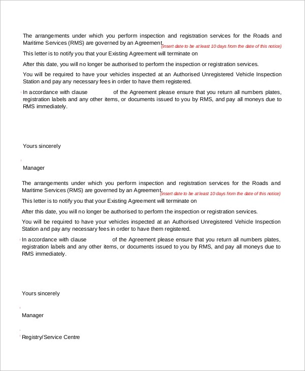 9+ Samples of Termination Letter Sample Templates