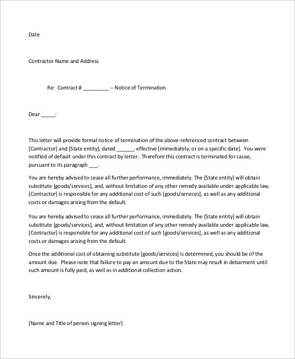 Sample of Termination Letter - 9+ Examples in Word, PDF - termination contract sample