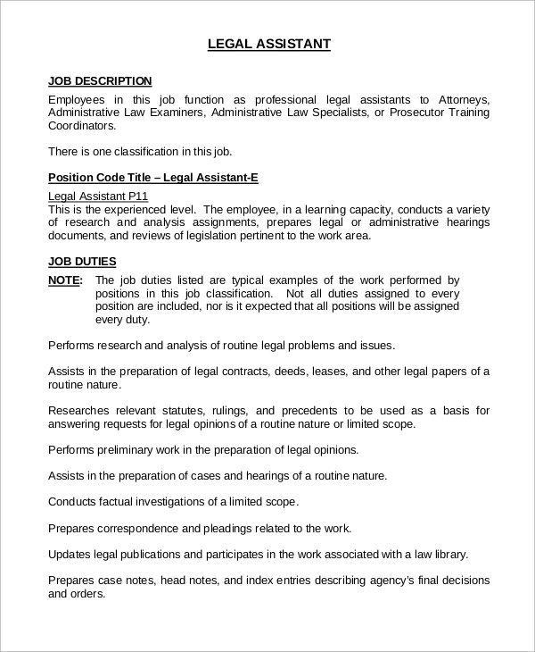 8+ Sample Legal Assistant Job Descriptions Sample Templates