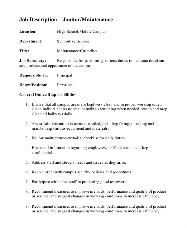 8+ Custodian Job Description Samples Sample Templates - Custodian Job Description