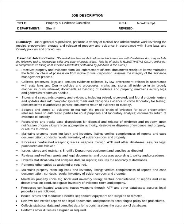 8+ Custodian Job Description Samples Sample Templates