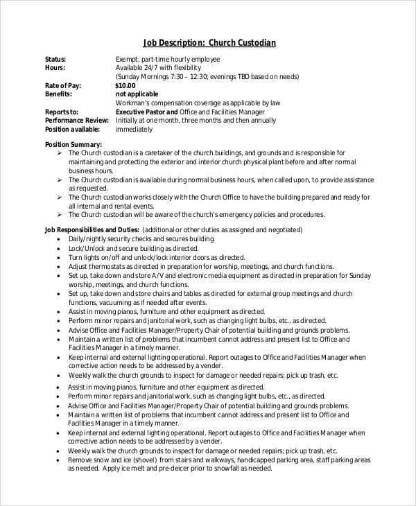 church custodian job description - Maggilocustdesign - custodian job description