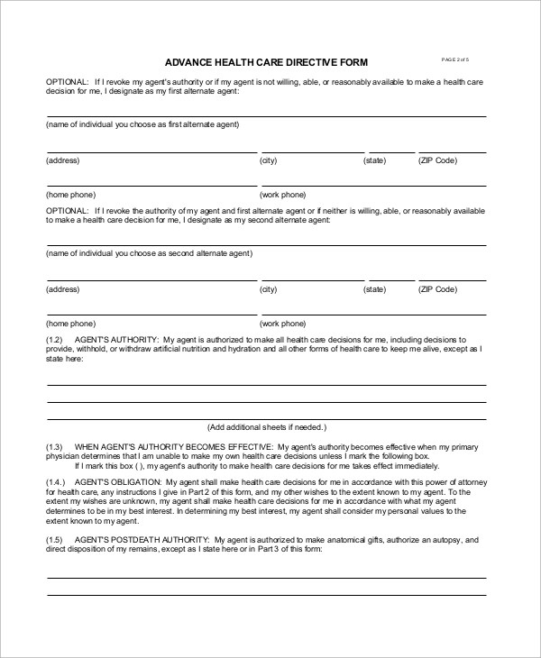 8+ Sample Advance Directive Forms Sample Templates