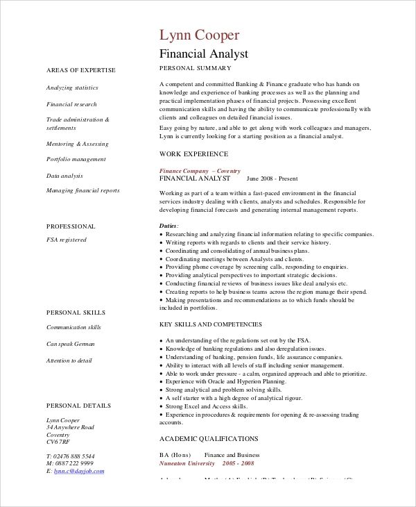 sample resume for financial analyst