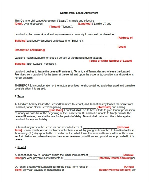 9+ Simple Lease Agreements Sample Templates - simple commercial lease agreement