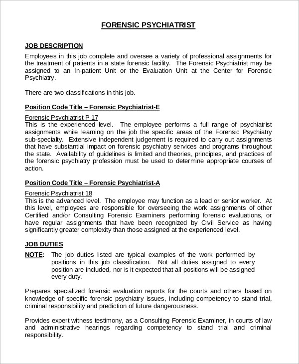 8+ Psychiatrist Job Description Samples Sample Templates - psychiatrist job description
