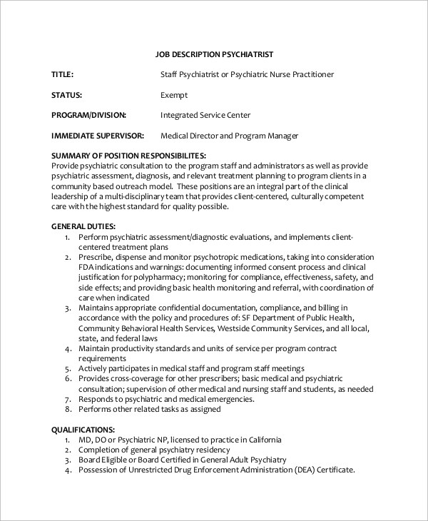 psychiatrist job description env-1198748-resumecloud - psychiatrist job description