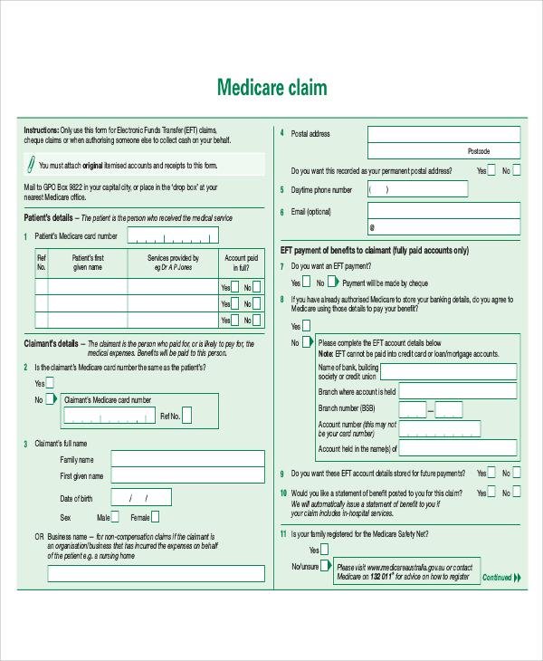 Medicare Claim Form For Providers A Sample English Resume - sample medicare application form