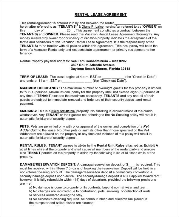 Sample Rental Lease - 8+ Examples in PDF, Word