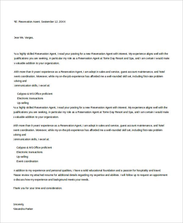 Reservation Letter Hotel Reservations Agent Cover Letter For Job