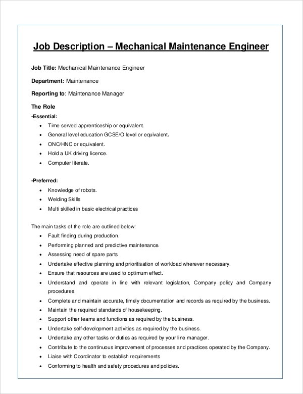 8+ Mechanical Engineer Job Description Samples Sample Templates
